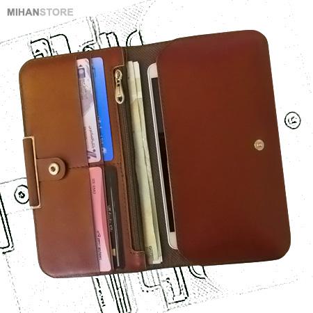 کیف چرم پول و موبایل لاکچری